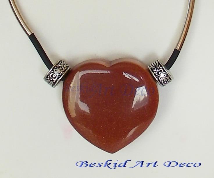 Serce- duży wisior z piasku pustyni Beskid Art Deco - Rękodzieło ...